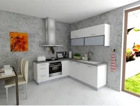 Sconto Rohová kuchynská zostava FACHMAN B6, 202x217 cm biela vysoký lesk