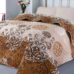 XPOSE® Prikrývka na posteľ AMÉLIA - hnedá 220x240 cm