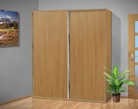 Nabytekmorava šatníková skriňa s posuvnými dverami Alfa 34 farba lamina: olša (olše)