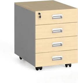 Mobilný zásuvkový kontajner, 4 zásuvky, breza