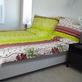 HOD Obliečky NARONA zelená Flanel 70x90 140x200 cm
