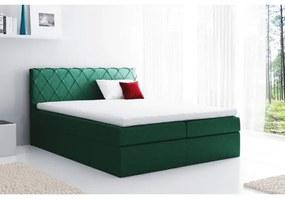Pohodlná čalúnená posteľ Perez 120x200, zelená + TOPPER