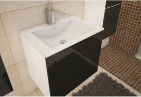 TEMPO KONDELA Mason BL 13 kúpeľňová skrinka pod umývadlo biela / čierna