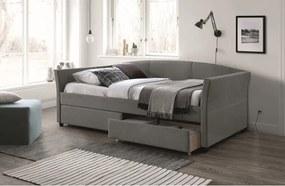 Sivá čalúnená posteľ LANTA 90 x 200 cm
