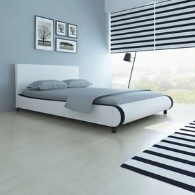 Posteľ 140 x 200 cm, umelá koža, biela