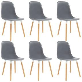 vidaXL Jedálenské stoličky 6 ks, sivé, plast