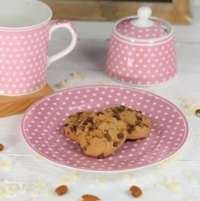 Isabelle Rose Porcelánový tanier s bodkami 19 cm - ružový