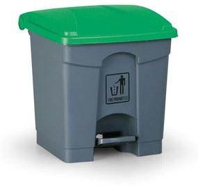 Pedálový viacúčelový kôš 30 litrov, zelená