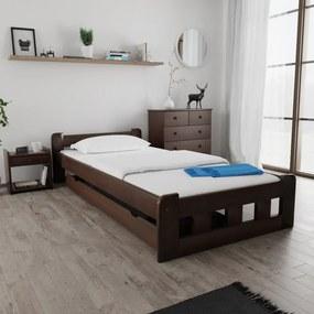 Maxi Drew Posteľ Naomi zvýšená 120 x 200 cm, orech Rošt: s latkovým roštom, Matrac: s matracom Economy 10 cm