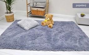 MAXMAX Detský plyšový koberec MAX popolavé obdĺžnikový Dlhý vlas (SHAGGY) šedá