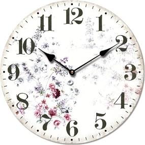 Isabelle Rose Drevené retro hodiny s dizajnom slamených kvetov 29 cm