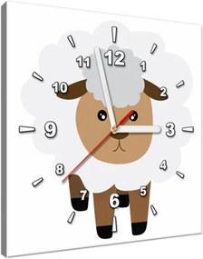 Obraz s hodinami Biela ovečka 30x30cm ZP4135A_1AI