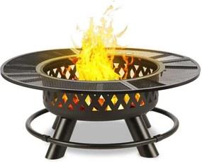 Blumfeldt Rosario 3-v-1 nádoba na oheň,Ø 120 cm , 70 cm gril,stolová doska, oceľ