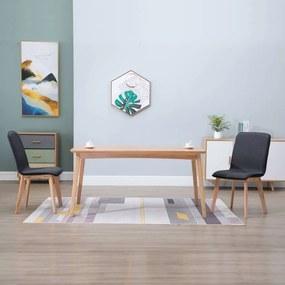 vidaXL Jedálenské stoličky 2 ks, sivé, látka a dubový masív