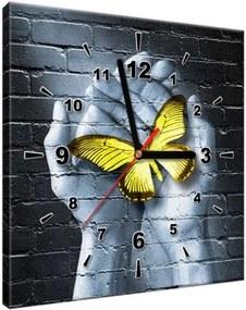 Obraz s hodinami Žltý motýľ v dlaniach 30x30cm ZP2363A_1AI