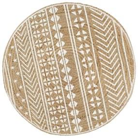 vidaXL Ručne vyrobený jutový koberec s bielou potlačou 120 cm