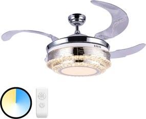 LED stropný ventilátor Cabrera nikel matný