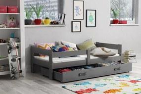 BMS Group Jednolôžková posteľ HUGO - so zásuvkou - GRAFIT