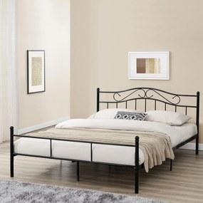[en.casa]® Kovové lôžko - francúzska posteľ - 200 x 140 cm - čierna