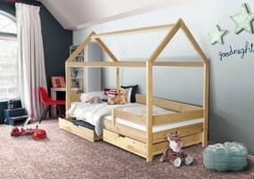 MAXMAX Detská domčeková posteľ KIDS - prírodná 200x90 cm