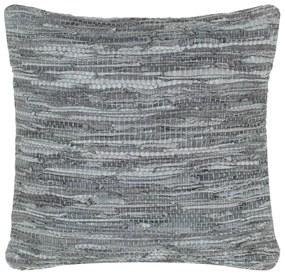vidaXL Vankúš chindi sivý 60x60 cm koža a bavlna