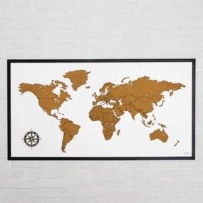 Korková, zapichovacia mapa sveta na stenu s rámom, 100x54cm