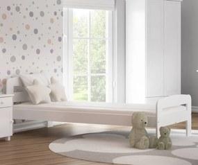 AMI nábytok Posteľ borovica Nastěnka 90x200 masív biela