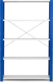 Policový kovový regál Mix, základná sekcia, 2100x1300x400 mm, modrá