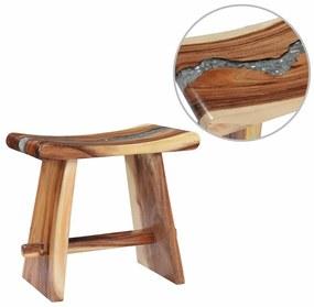 vidaXL Stolička drevený masív suar a polyresin