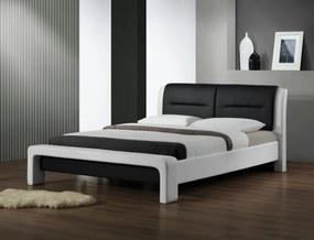 HALMAR Cassandra 160 čalúnená manželská posteľ s roštom biela / čierna