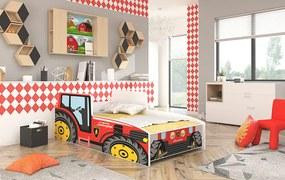 Posteľ pre deti 160x80 cm Traktor červený