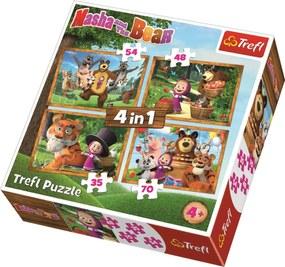 TREFL Puzzle Máša a medveď 4v1