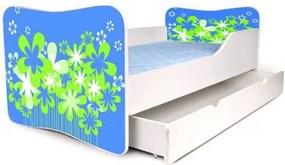 MAXMAX Detská posteľ so zásuvkou KVETY MODRÉ + matrac ZADARMO