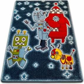 3kraft Kusový koberec KIDS roboti čierny 419