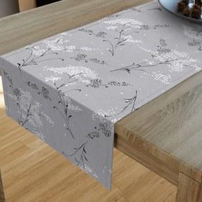 Goldea bavlnený behúň na stôl - vzor japonské kvety na sivom 20x120 cm