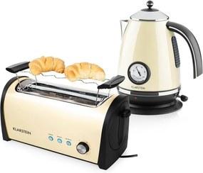 Klarstein Cambridge Creme, krémová, raňajková sada, 2200 W rýchlovarná kanvica + 1400 W hriankovač