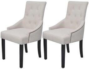 vidaXL Jedálenské stoličky 2 ks, krémové, látka
