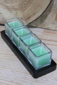 Zelené sviečky v skle na drevenej tácke 20cm