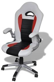 Biela moderná kancelárska stolička z umelej kože