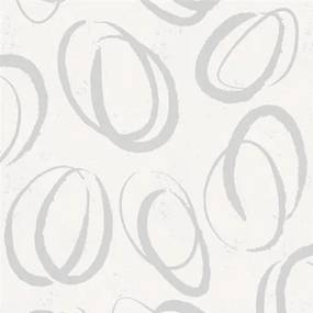 Vliesové tapety na stenu Ella 6755-30, oválky strieborné, rozmer 10,05 m x 0,53 m, Marburg