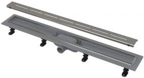 ALCAPLAST SIMPLE Podlahový žľab s nerezovým okrajom pre perforovaný rošt APZ18-750M