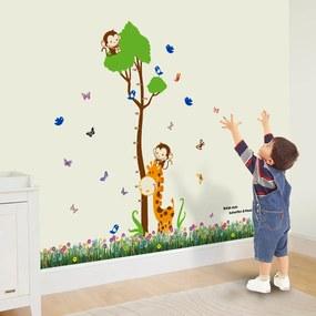 Walplus Samolepky na stenu Meter strom s opičkou / Tráva s motýliky, 175x165 cm