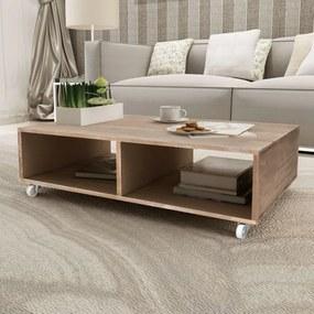 vidaXL Konferenčný stolík, hnedý, masívne drevo