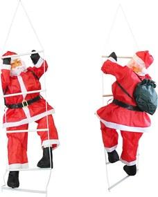 [lux.pro]® Mikuláš lezúci po rebríku - vianočná dekorácia - 90 cm