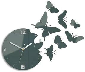 Moderné nástenné hodiny MOTÝLE GRAY HMCNH003-gray