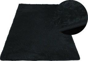 MAXMAX Plyšový koberec TOP - ČIERNY obdĺžnikový Dlhý vlas (SHAGGY) čierna