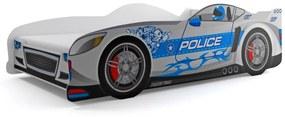 Posteľ Auto - 160x80cm - POLÍCIA - sivá