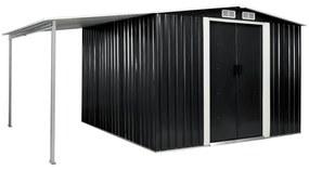 vidaXL Záhradná kôlňa, posuvné dvere, antracitová 386x259x178 cm, oceľ