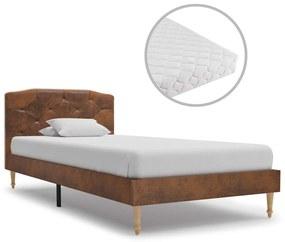 vidaXL Posteľ s matracom, hnedá, umelý semiš 90x200 cm