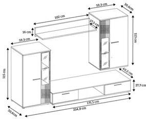 Obývacia stena OSKAR 5 dub sonoma